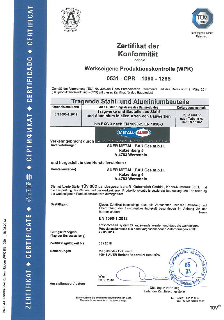 Zertifikat der Konformität, WPK, EN 1090-1:2012